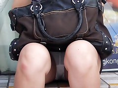 Upskirt sex view of the real amateur