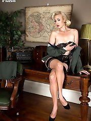 Sarge is in charge, of your 'privates'! In this scene. her sexy long legs in nylons and her uniform have you to attention in no time!