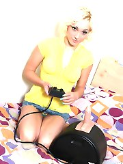 Sexy blonde Lily Labeau strips naked and gets on the sybian for the best ride of her life