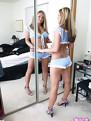 Kates blonde sexy girlfriend Stina loves to tease with her perky boobs in the mirror