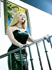 Spooky young blond in Horror mansion