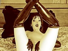 goth beaut in latex stockings and gloves