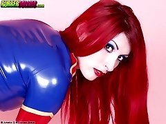 redhead shows tits in tight blue latex dress