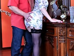 Pretty babe in full-fashioned stockings gets groped and boned in every way