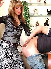 Gorgeous milf gets her tan hose with a cotton crotch jizzed after a score
