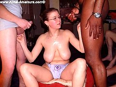 Cumslut trinity giggles as the spunk dribbles down her huge breasts