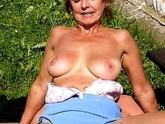This naughty mature slut loves to get fucked in the grass