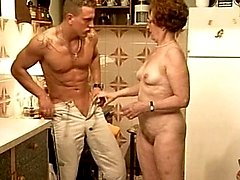 This granny got fucked on the kitchen countertop like a slut