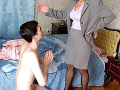 Mommy kicks fat gay's ass and fucks his boyfriend