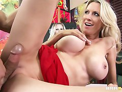 Mature blonde MILF shows off her pierced nipples  rides bigdick