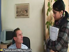 Horny old senior seducing a cute part2