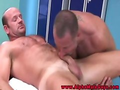 Muscular powerful stud gets throatfucked