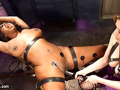 First time Electro Slut Lisa Tiffian surrenders her ass to Mistress Cherry Torn! Bondage,...
