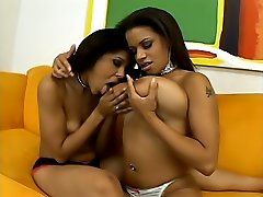 Hot babes with big tits licking clits