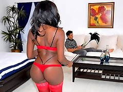 Amazing hot black ass cleaning maid sucks on a hard cock and gets her black box pounded after...