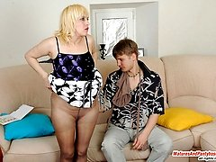 Alluring milf changing her pantyhose before outrageous suck-n-fuck action