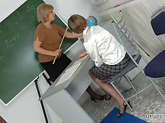 Naughty pantyhosed schoolgirl getting outrageous lesson from lewd teachers