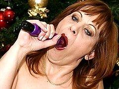 This mature christmas slut has her present