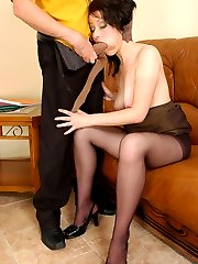 Lewd business-lady in dark nylons has time for nylon games and hot quickie