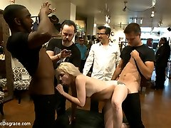 Petite blonde is stripped naked in a shoe store, made to suck and fuck strangers cock, get...