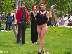 Julia Roca - Part 1Julia Roca is a shy, perky, brunette, whore and is ready to sing in pain for the public. First up she is taken to the park and must perform for everyone there. Her pathetic voice and dancing offends most of the park goers! Luckily they all get a perfect view of her tight ass and hairy pussy. Silvia Rubi wants to show off her slave even more and parades her through the crowded streets for all to enjoy, then ties her up in rope bondage and let's the public have their way with her.Julia Roca - Part 2In the back of a crowded bar Julia Roca is stripped naked and humiliated in front of every horny patron. This slut needs to be taught a lesson in manners! The crowd gets to all write nasty things on her body before she is fucked by huge cocks. This whore is completely frightened of electricity which causes her to scream with every terrifying orgasm!