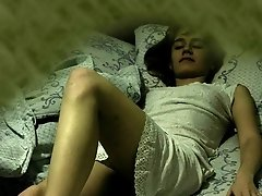 Hot bird sleeping and then playing with her tits and clitty was caught by home voyeur camera