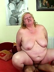 Thin young man takes the fat mature and fucks her every way he can possibly imagine