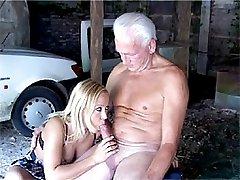 Senior fucks a blonde babe