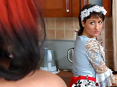 Gorgeous French maid ready to lick every curve of sizzling hot aging lesbo
