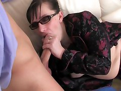 Strict old lady-boss takes a break getting it on with a young male employee