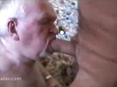 Silverdaddy Hairy Bear Grandpa with Dentures Sucking a Big Cock