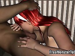 Sexy 3D redhead babe sucks cock and gets fucked
