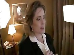 Two middle-aged business women suck boss' huge hard cock