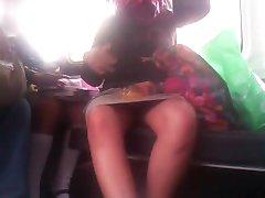 Carolina open legs on the bus