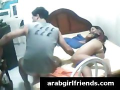 Very naughty brunette Arab whore gets her foreplay caught by spy cam