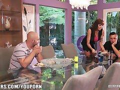 Slutty big-tit MILF Alia Janine begs for her step-son's big dick