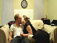 horny amateur housewife giving blowjob to her husband