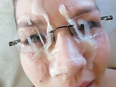german girl in glasses gets a very good facial