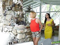 Milf teaches the teen lesbian sex in the poolside