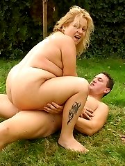 Big tit BBW Helga gets on top so she could ride a big cock outdoors