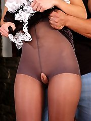 Upskirt French maid flashes her privates thru tights and gets fucked hard