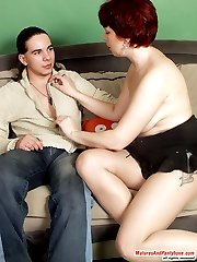 Redhead mature chick in barely visible pantyhose getting her muff massaged