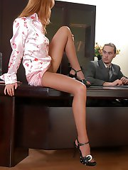 Curvy secretary in sheer pantyhose seducing her boss into wild fuck-fest