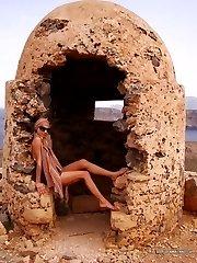 Brunette GF posing in her bikini outdoors