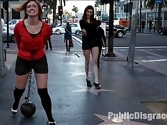 Jodi Taylor is bound in handcuffs and given a crotch rope of unforgiving steel attached to a...