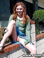 Teen redhead exposing herself in public
