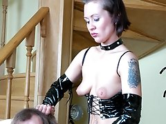 Kinky guy getting dominated by a strap-on armed babe aching for his butt
