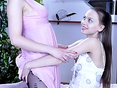Naughty lesbo reveals her hidden in pantyhose dildo to seduce her girlfriend