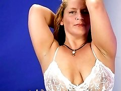 Blonde vixen Melenka playing with her thick bushed muff while riding a big stiff cock