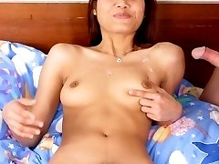 Exotic Asian model strip off her clothes and jump on top of a stiff cock to take in in her hairy cunt